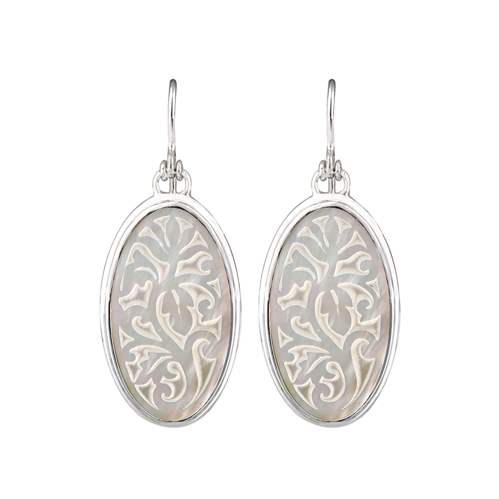 JD E64532 CARVED MOTHER OF PEARL OVAL EARRINGS