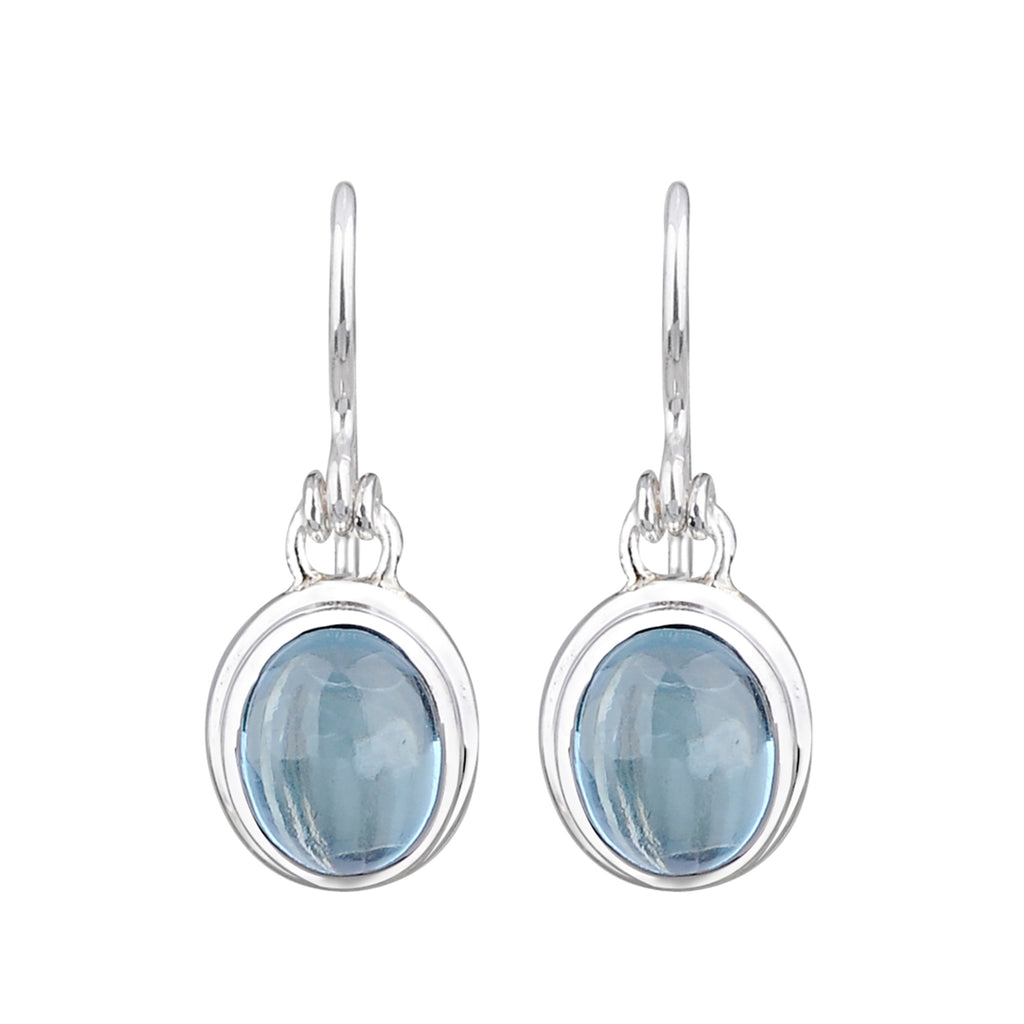JD E64574BTP BLUE TOPAZ OVAL DROP EARRINGS