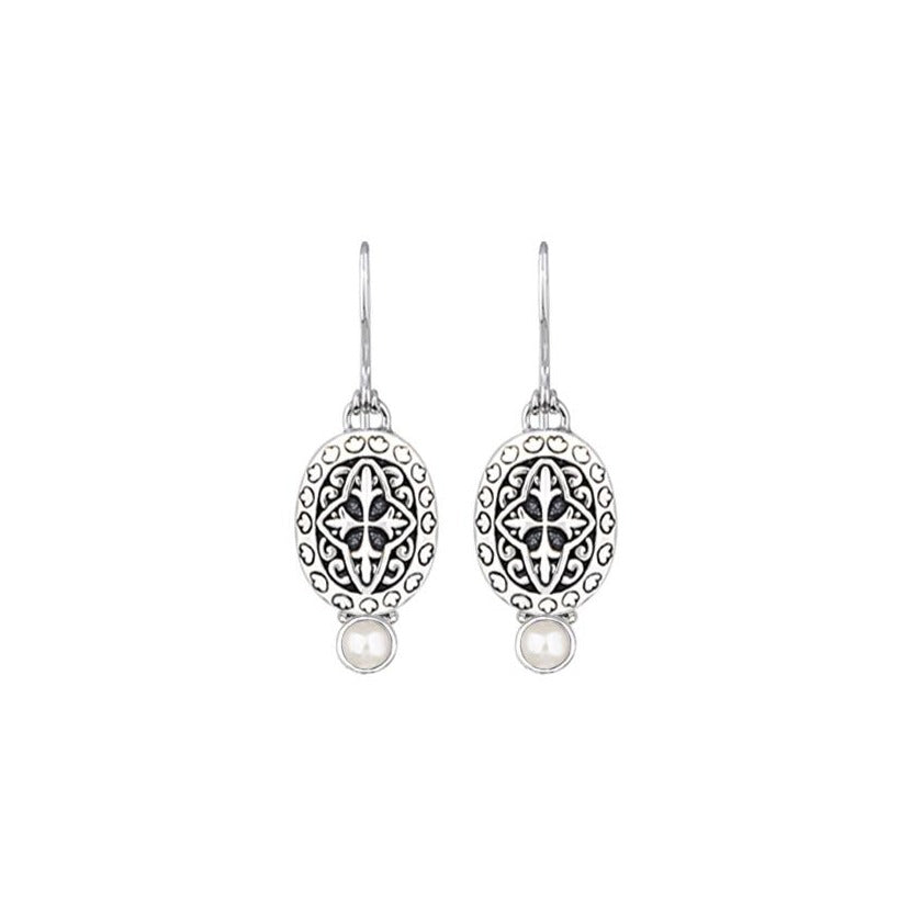 JD E64959 WHITE PEARL FILIGREE EARRINGS