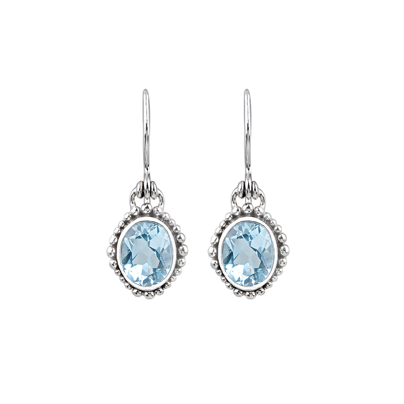 JD E64975BTP BLUE TOPAZ DOTTED EARRINGS