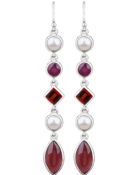 JD E65008 GARNET & RUBY EARRINGS