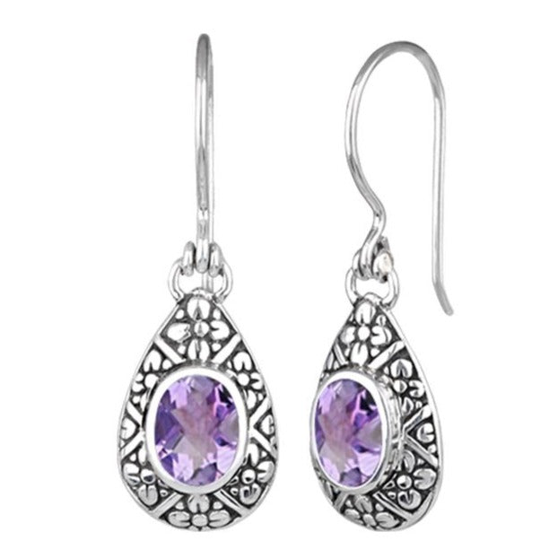 JD E70824 AMETHYST FILIGREE EARRINGS
