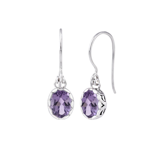 JD E70942 OVAL AMETHYST DROP EARRINGS