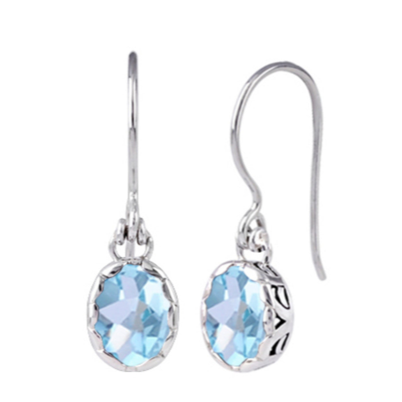 JD E70942BT BLUE TOPAZ OVAL DROP EARRINGS