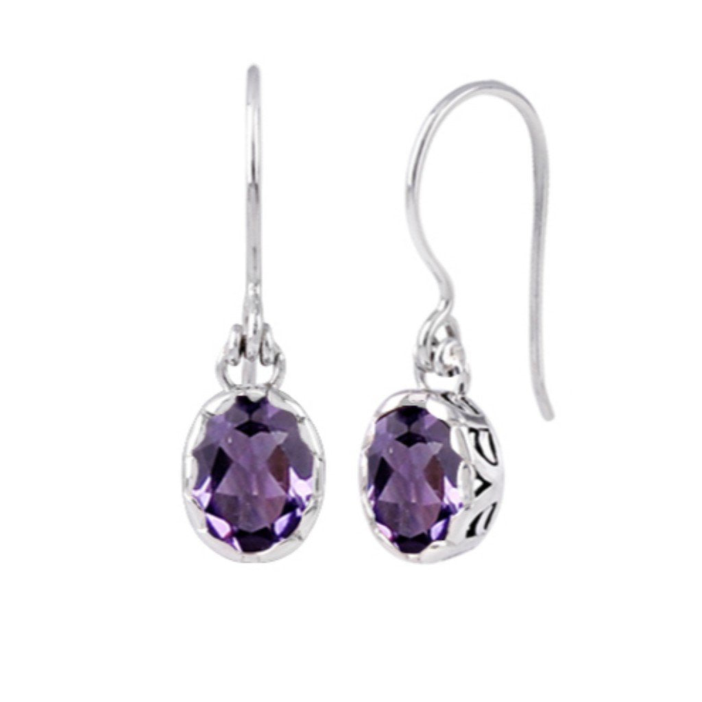 JD E71014 AMETHYST OVAL EARRINGS