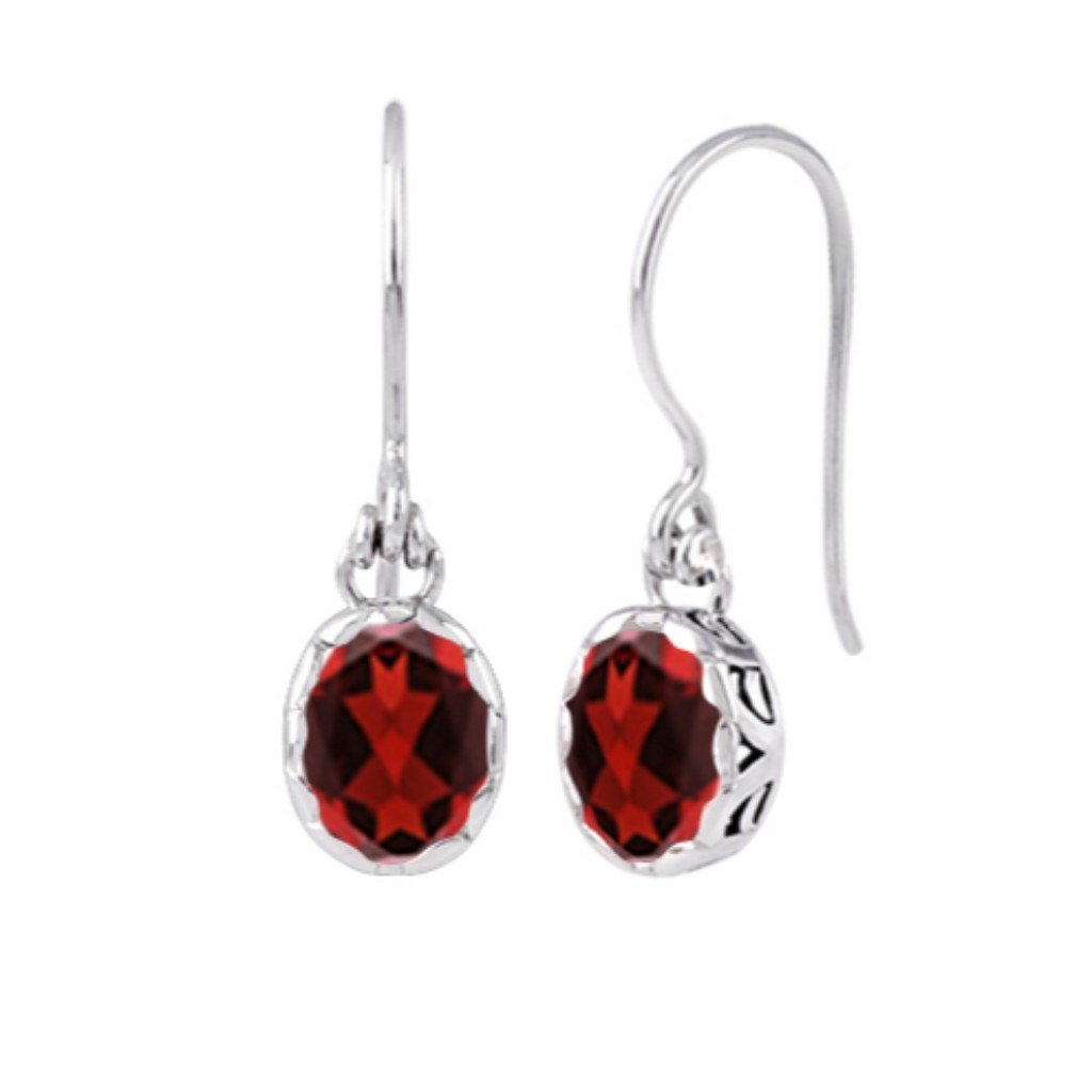 JD E71014 GARNET OVAL EARRINGS