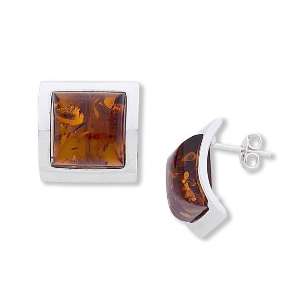 BS EF004 AMBER SQUARE CURVED POST EARRINGS