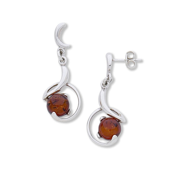 BS EF1386 HONEY AMBER SWIRL POST DROP EARRINGS