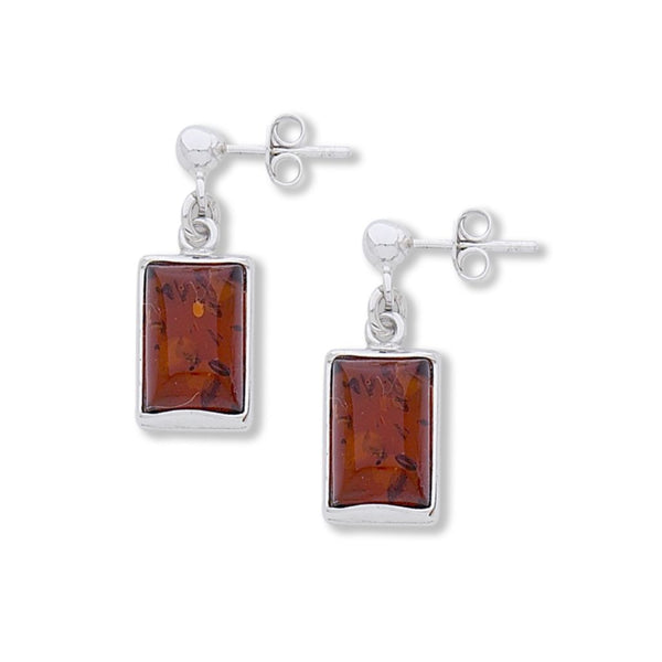 BS EF-173 RECTANGLE AMBER EARRINGS