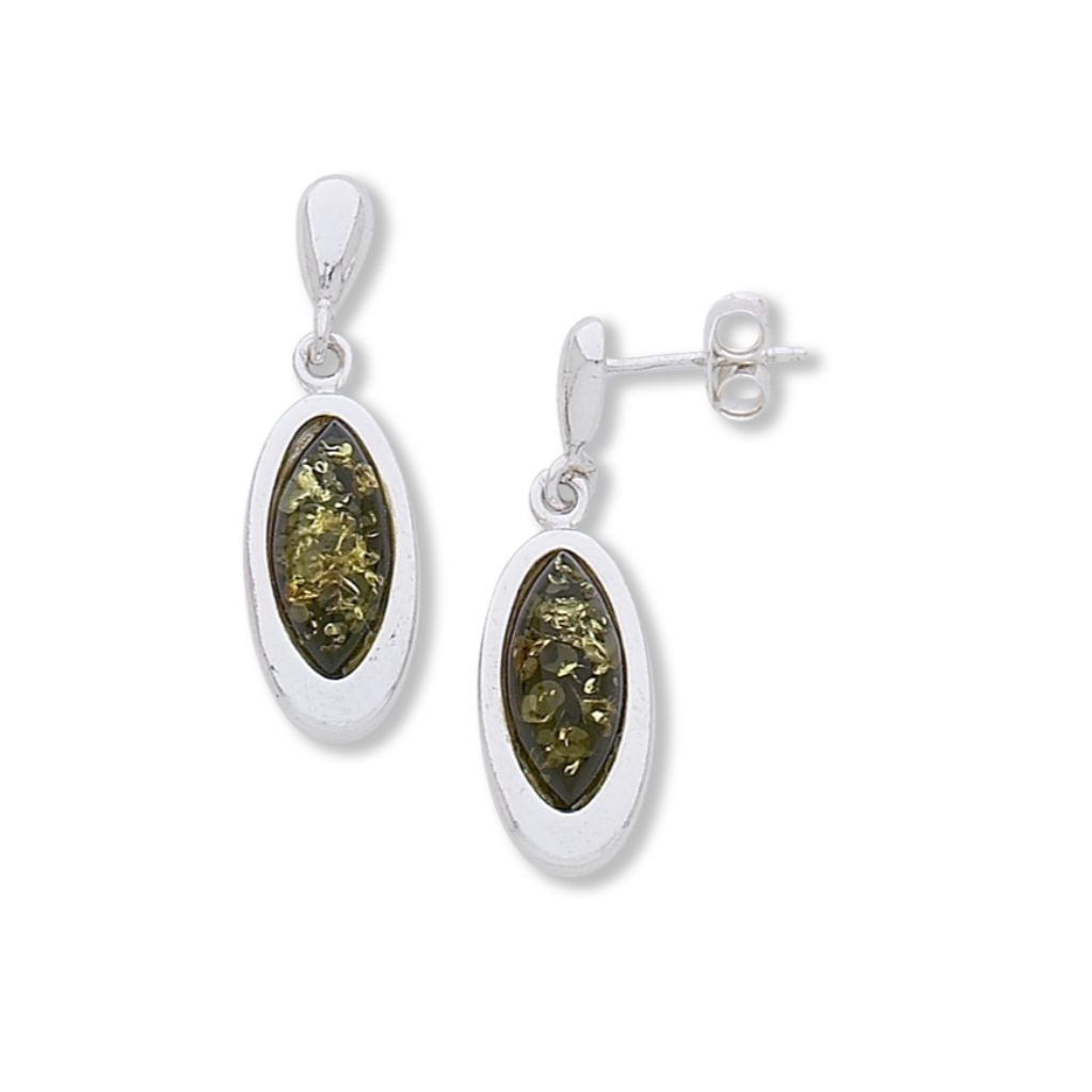BS EZ172G GREEN AMBER OVAL EARRINGS