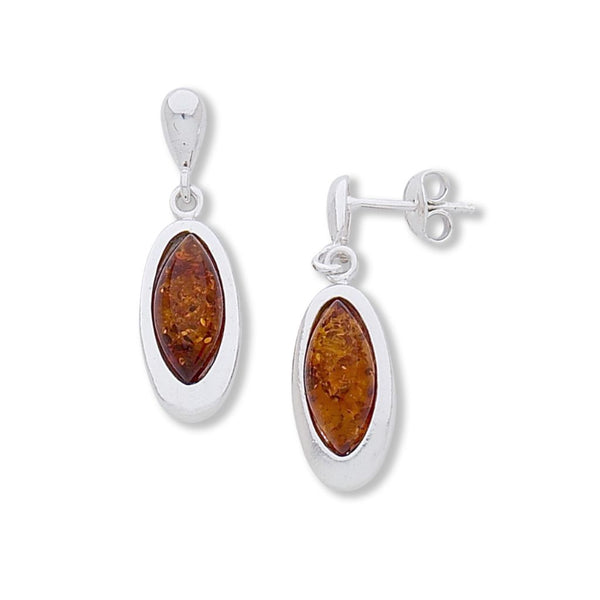 BS EZ172 AMBER OVAL DROP EARRINGS