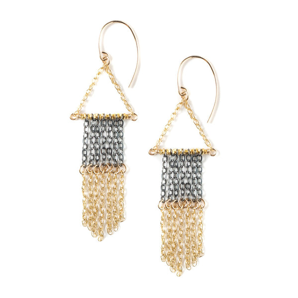 KW GIANNA OXIDIZED & GOLD FRINGE EARRINGS