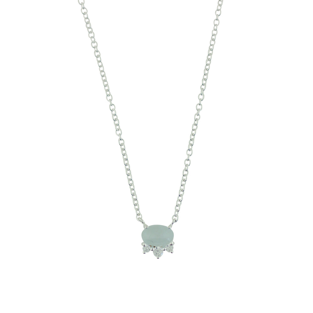 TA N150S SILVER AQUAMARINE CUBIC ZIRCONIA MINI NECKLACE