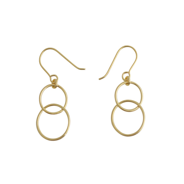 TA E176G GOLD DOUBLE OPEN CIRCLE EARRINGS