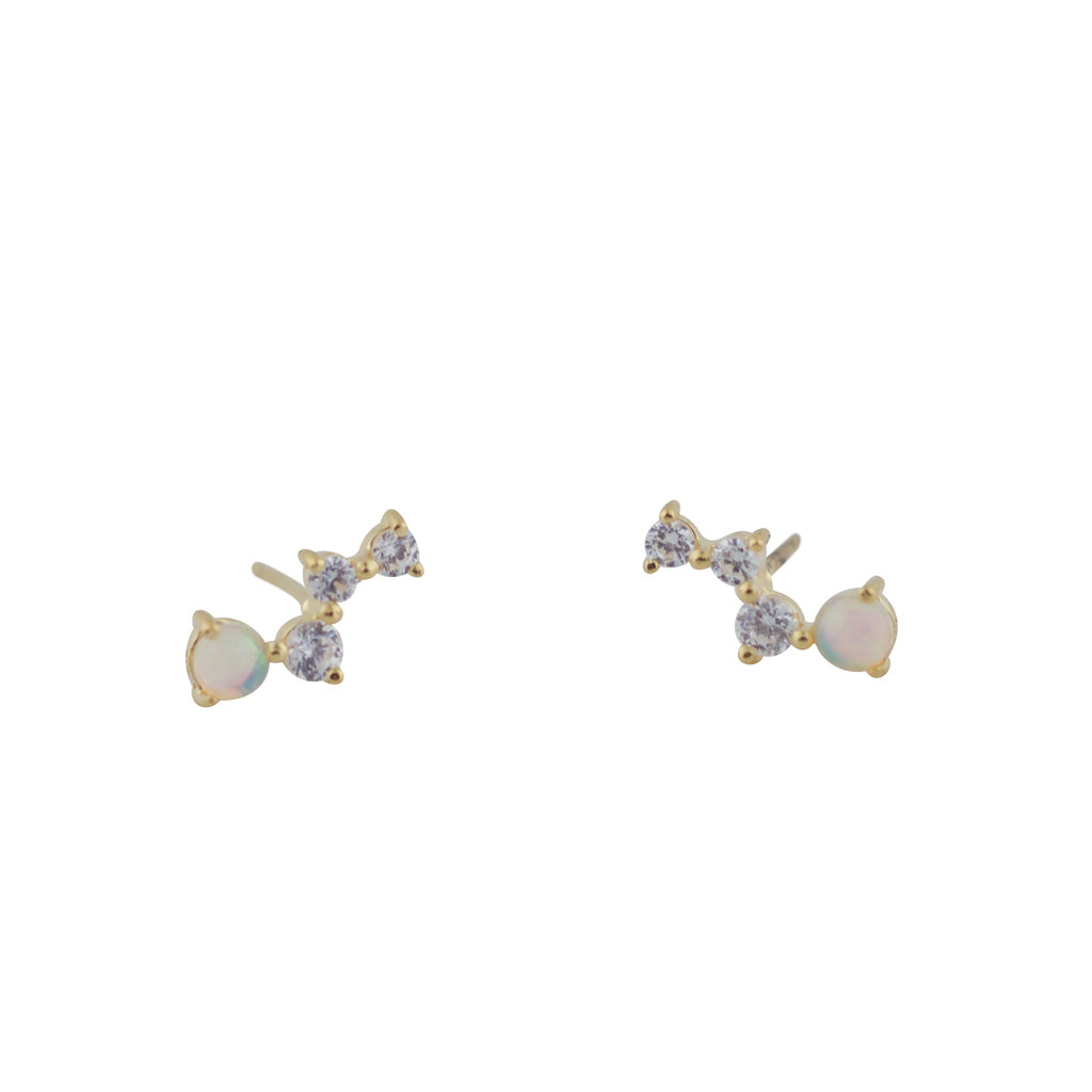 TA E269G OPAL CUBIC ZIRCONIA CLUSTER POSTS