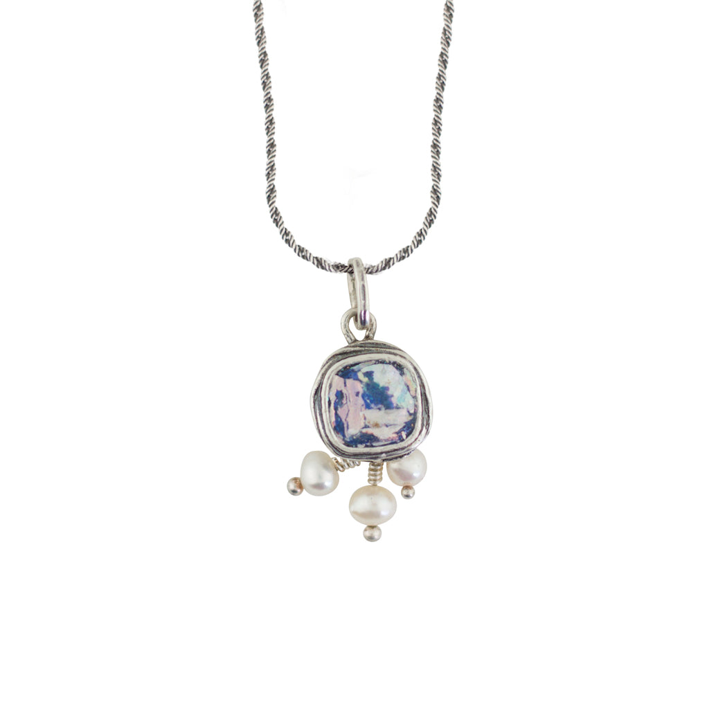 MED ASN2135223PP ROMAN GLASS & PEARL NECKLACE