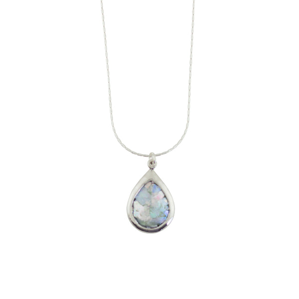 MED ASE17040PP ROMAN GLASS TEAR DROP NECKLACE