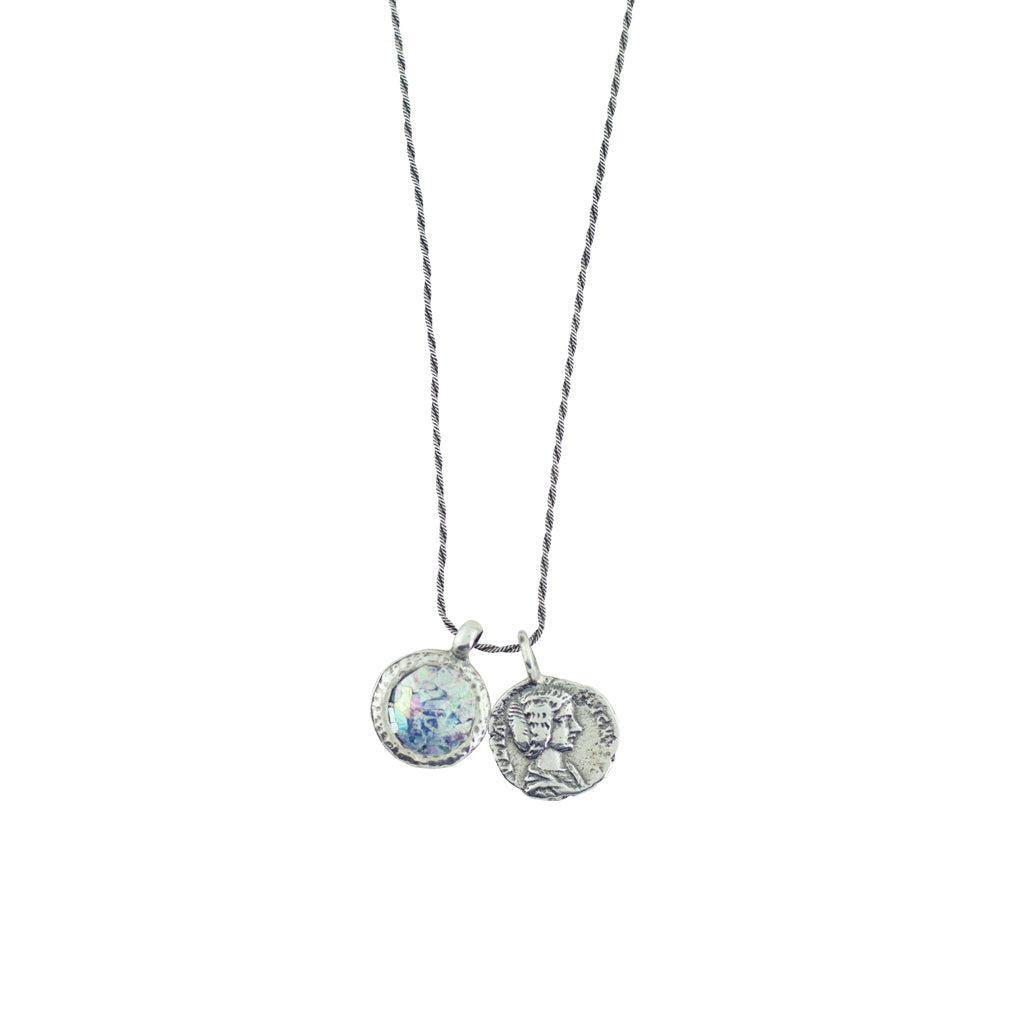 MED ASN2135214P ROMAN GLASS AND COIN NECKLACE