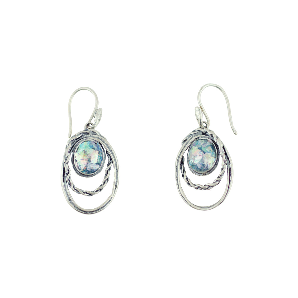 MED ASE16001P ROMAN GLASS OPEN OVAL EARRINGS