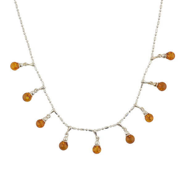 BS NZ063 AMBER BEAD DROP NECKLACE
