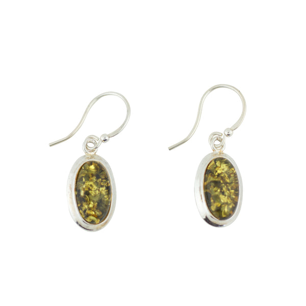 BS EZ047G GREEN AMBER OVAL EARRINGS