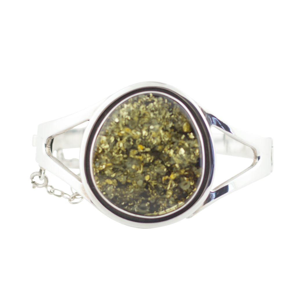 LARGE GREEN AMBER OVAL HINGE BANGLE