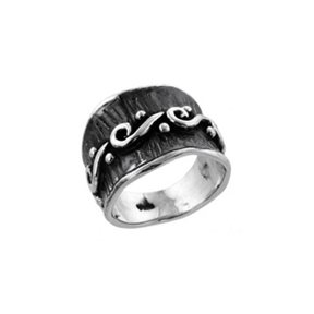 MM M8-585 12 OXIDIZED SWIRL RING