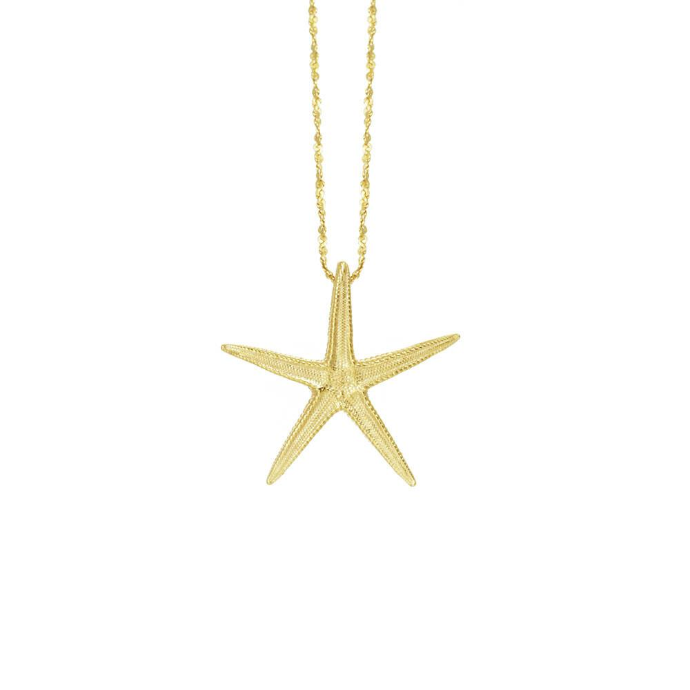 "CW N123V 18"" MEDIUM GOLD STARFISH NECKLACE"