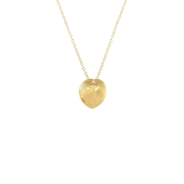 CW N1439V GOLD HEART SHELL NECKLACE