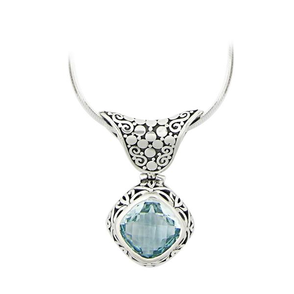 JD N54143 BLUE TOPAZ DIAMOND SHAPED NECKLACE