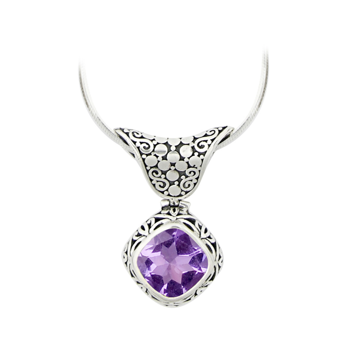 JD N54143 AMETHYST DIAMOND SHAPED NECKLACE