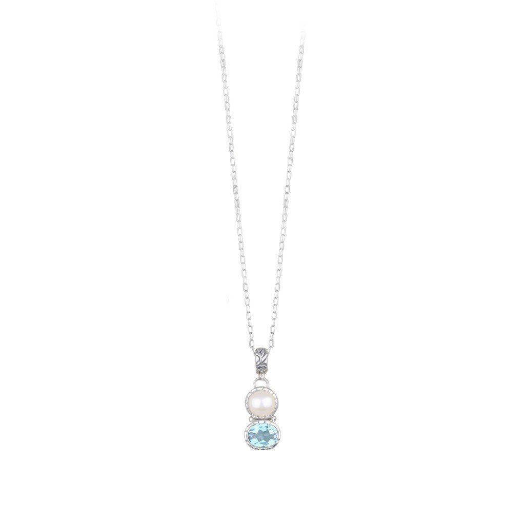 JD N63016 BLUE TOPAZ & PEARL NECKLACE