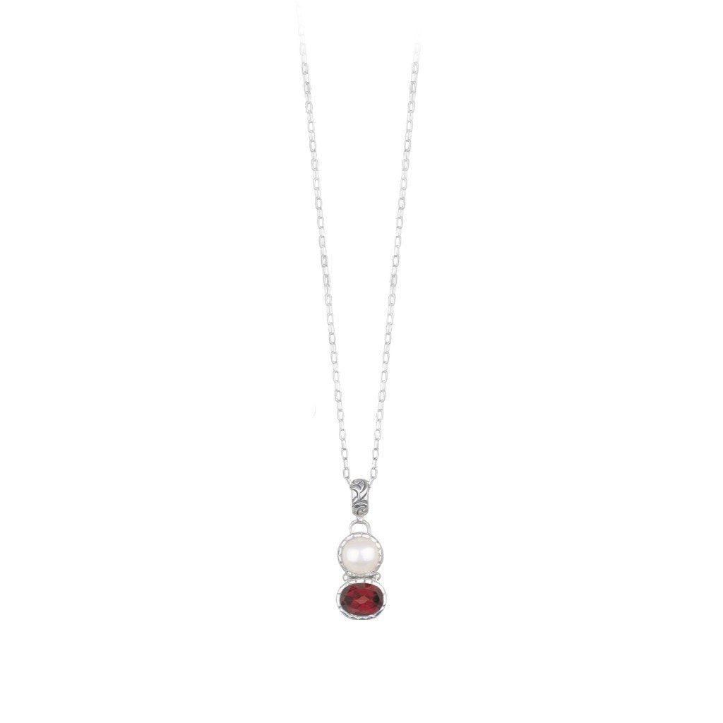 JD N63016 GARNET & PEARL DOUBLE NECKLACE