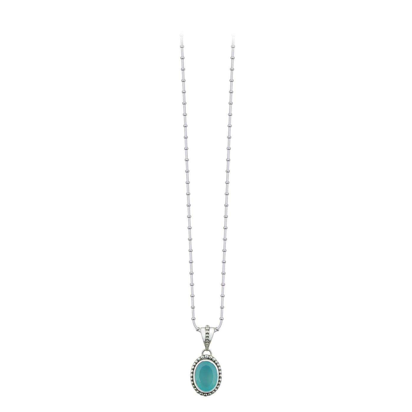 JD N64046 CHALCEDONY BEADED OVAL PENDANT
