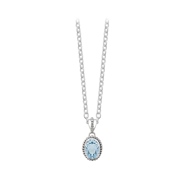JD N64064BTP BLUE TOPAZ OVAL NECKLACE