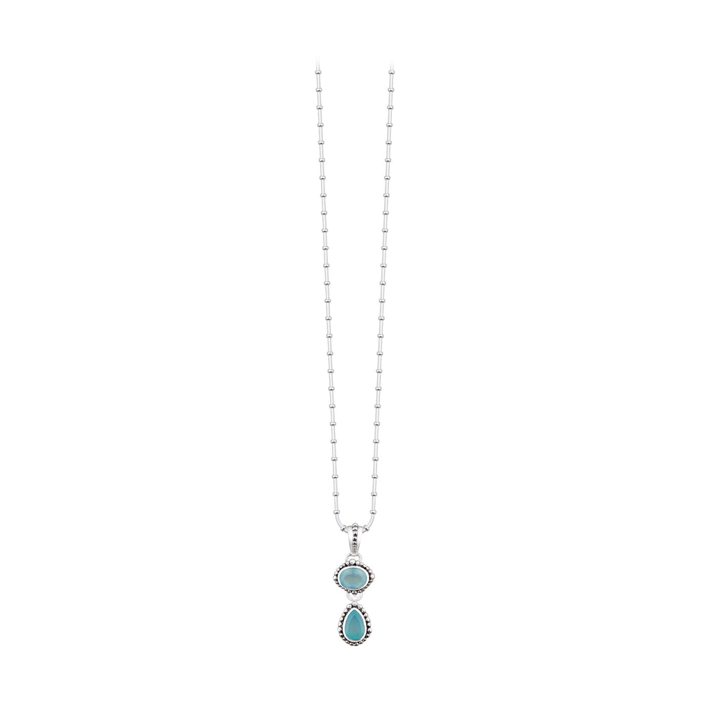 JD N64345 CHALCEDONY DOUBLE DROP NECKLACE