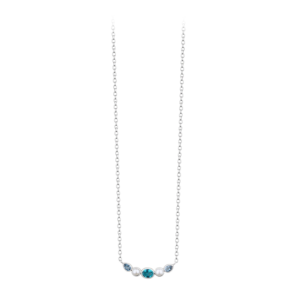 JD N64601 BLUE TOPAZ APATITE & PEARL BAR NECKLACE