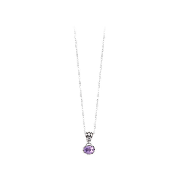 JD N70892 AMETHYST OVAL NECKLACE