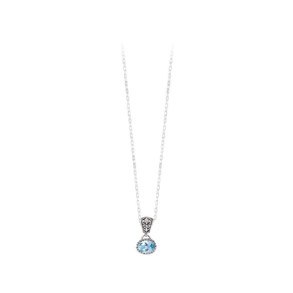JD N70892BTP BLUE TOPAZ OVAL NECKLACE
