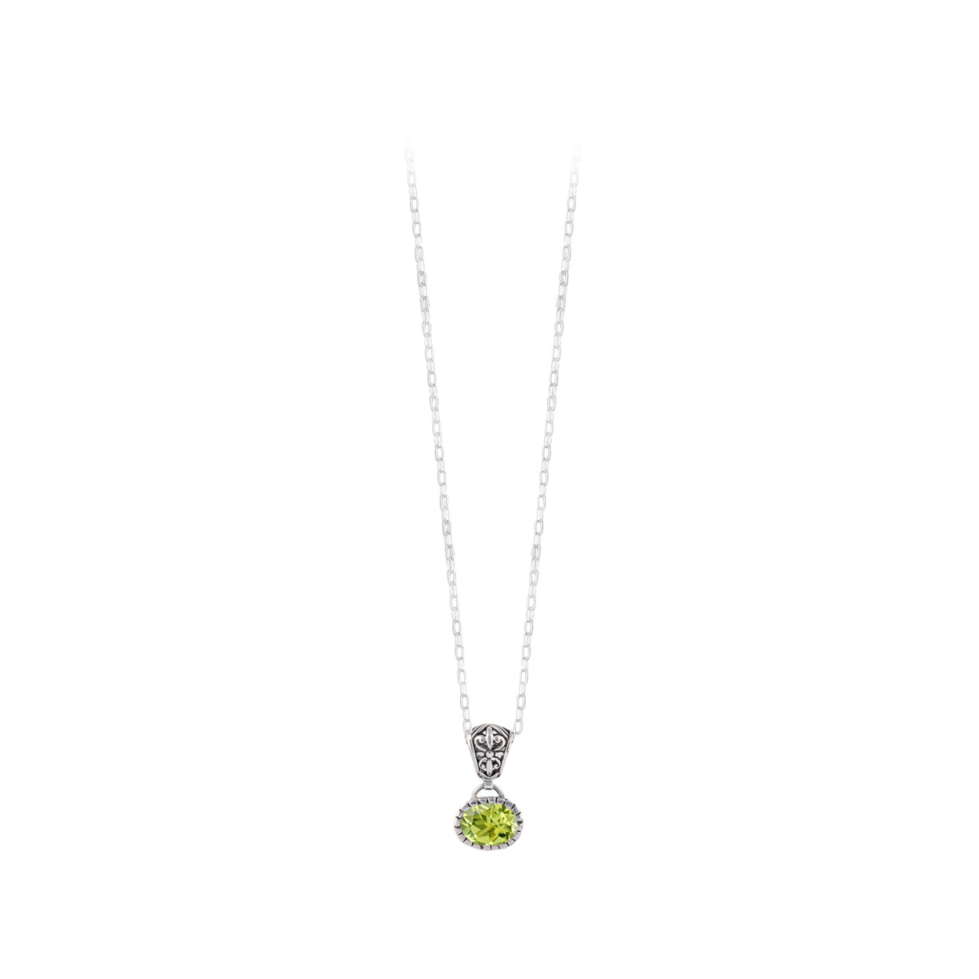 JD N70892 PERIDOT SIDE OVAL NECKLACE