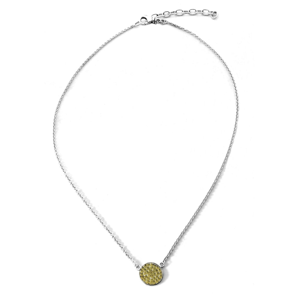 ID N840G SMALL GOLD DOTTED CIRCLE NECKLACE