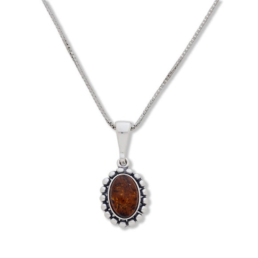 BS NAC6094  OVAL BEADED AMBER PENDANT