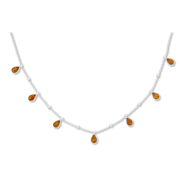 BS NZ041M AMBER TEAR DROP NECKLACE