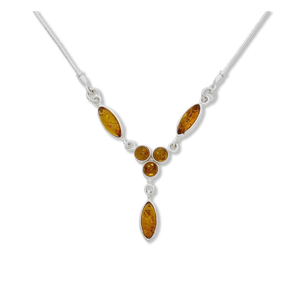 BS NZ057L AMBER LEAF NECKLACE