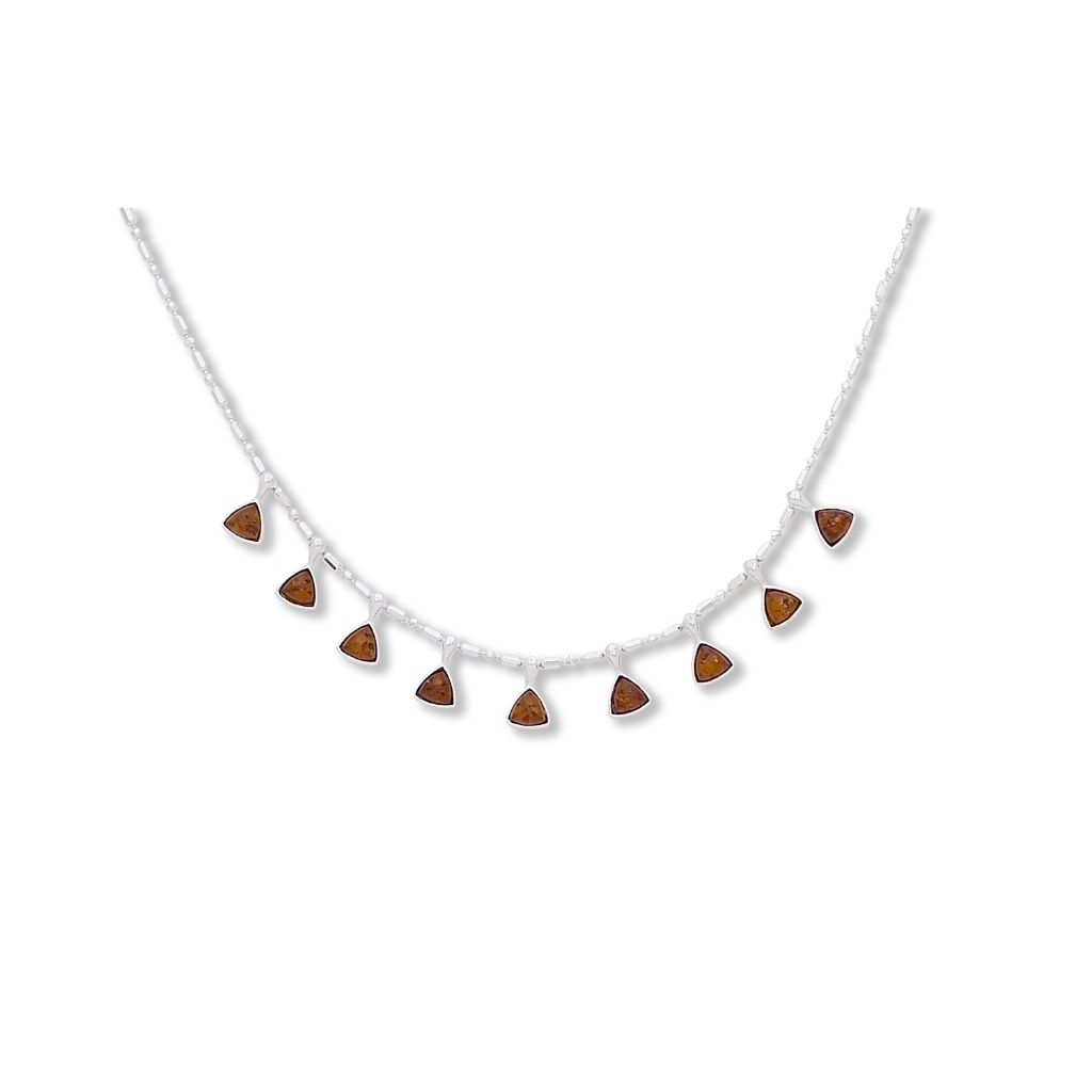 BS NZ060 AMBER TRIANGLES NECKLACE