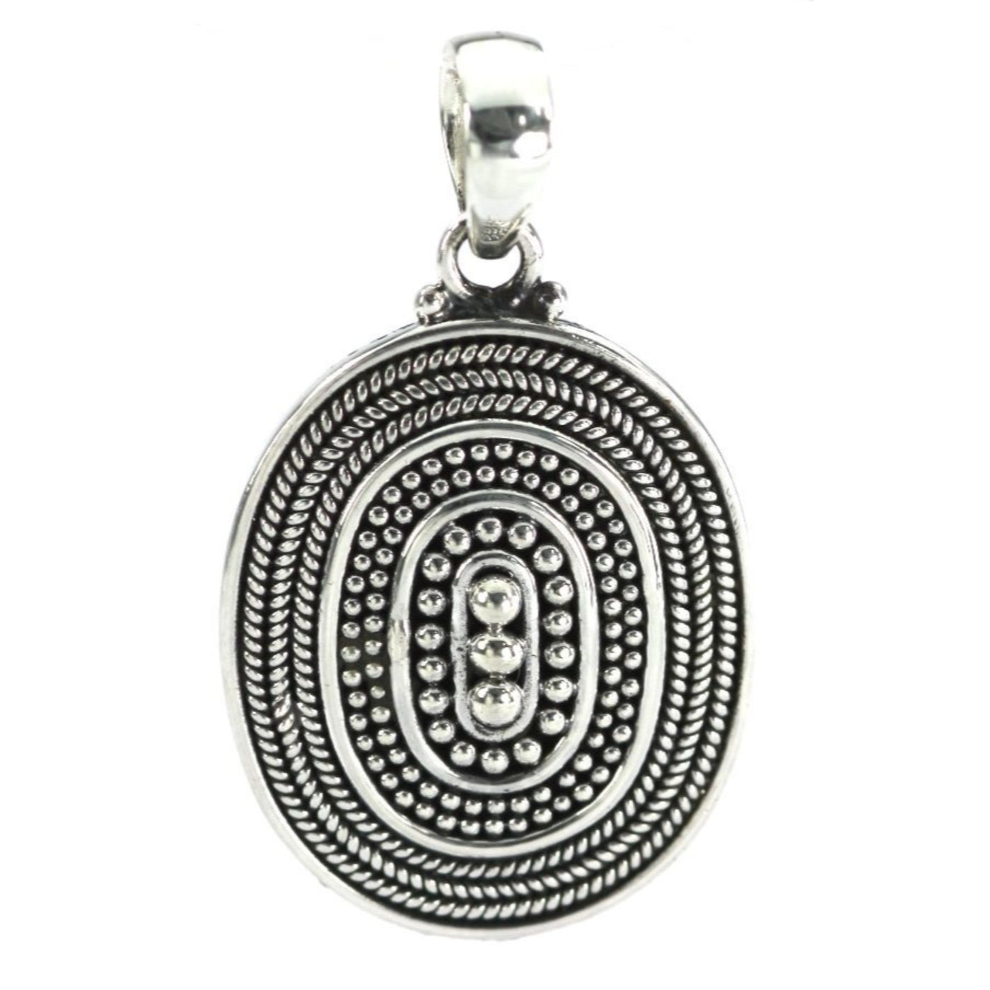 ID P123 SMALL BEADED OVAL PENDANT