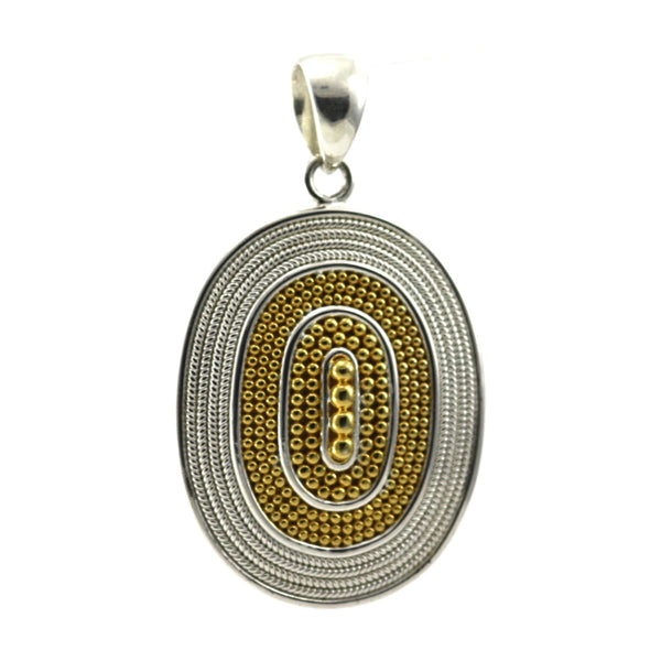 ID P176G LARGE 18K OVAL BEADED PENDANT