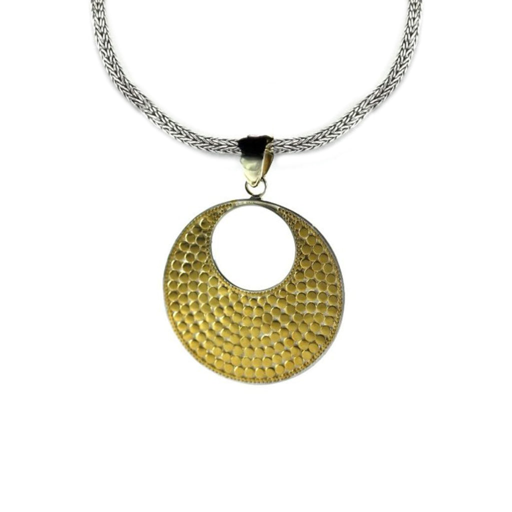 ID P234G GOLD BALI DOTTED ROUND PENDANT