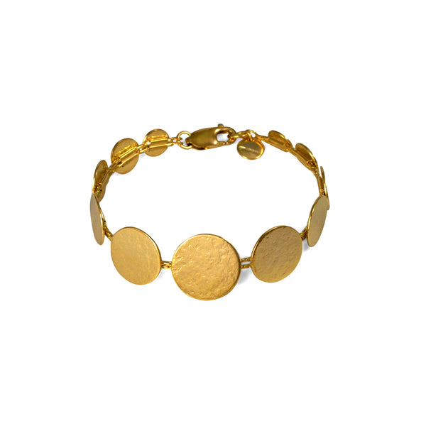 CT PABR02G 14 GOLD MATTE GRADUATED DISC BRACELET