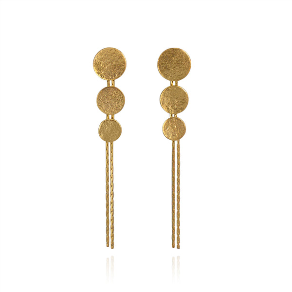 CT PAER02 7 GOLD MATTE TRIPLE DROP EARRINGS